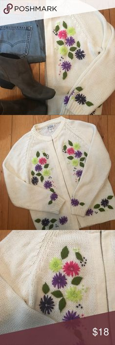 """Vintage Full Fashion Floral Cardigan size L Oh - the potential in how to dress with this cardigan! Pre-loved and in good shape. Size L per tag. Shoulder to hem:24"""",outer sleeve:23"""",pit to pit: 20"""". I believe all acrylic.   Shop smart by maximizing your shipping $. Use the filter function and peruse my closet of over 1,000 items! Bundle and save!!    SW6C Vintage Sweaters Cardigans"""