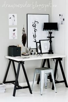 Best Home Office Decor Black And White Interior Design 61 Ideas Black And White Office, Black And White Interior, White Interior Design, Black White, Home Office Design, Home Office Decor, Office Ideas, Desk Ideas, Ikea Office