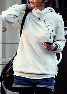 Charming Long Sleeve Hooded Collar Autumn Sweats Grey - USD $16.66