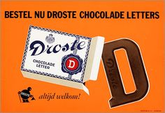 Droste Chocolade Letters Dutch treat from Sinterklaus, and any other kind other than Droste just isn't right. Typical Dutch Food, Food Vans, Dutch Recipes, Dutch Artists, Visual Communication, Confectionery, Netherlands, Holland, Advertising