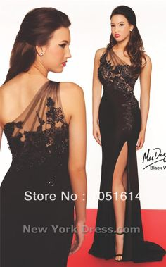 Black Chiffon Lace Appliques One Shoulder Sexy High Split Mermaid Prom Dress $180.00