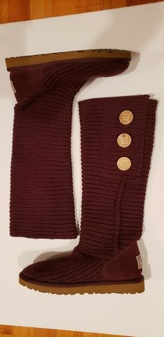 dabd2f6c49 UGG Australia Burgundy Wool Knit Boots Women Size 8 EU 39 #5819 F3009H Pre-