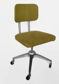 Mid Century Metal Office Desk Chair Swivel Wheels By BeeHavenHome