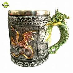 Double Wall Stainless Steel Retro Dragon Office Mug Cups Fun Mugs Coffee Tea Milk Bottle Drinking Cup Mug Canecas Copo Dragon Glass, Cool Kitchen Gadgets, Cool Mugs, Tools For Sale, Coffee Cups, Coffee Shop, Tea Set, Beer