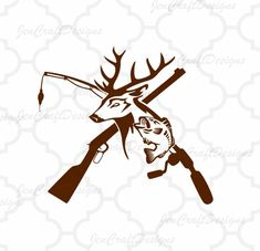 Deer and Fish, riffle. Fishing pole iSVG, Hunting Fishing Svg, eps, dxf and PNG Format for Cricut and Silhouette, Hunting Fishing by JenCraftDesigns on Etsy #Hunting