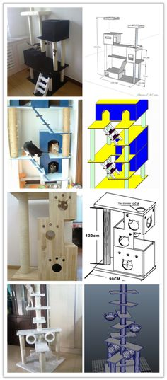 Cats Toys Ideas - Cats - Ideal toys for small cats Diy Pour Chien, Cat Tree Plans, Homemade Cat Toys, Diy Cat Tree, Kitten Toys, Cat Towers, Ideal Toys, Cat Room, Cat Condo