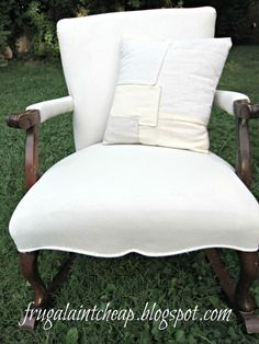 Frugal Ain't Cheap: Painted Chair $1 (no sewing) She painted the fabric and tells how to soften the stiff finish- so awesome!
