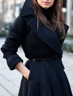 Miroslava Duma in a black coat that has a full skirt, photo by Garance Dore Looks Street Style, Looks Style, Style Me, Style Blog, Mode Chic, Mode Style, Estilo Fashion, Look Fashion, Fashion Black