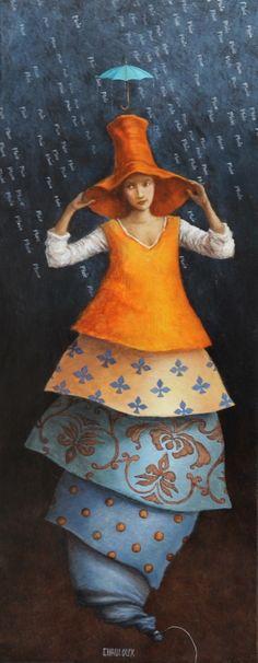 Catherine Chauloux, Les Déjantés Il pleut ... - Acrylique