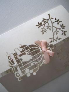 Laser Cut Bird Cage Wedding Invitation by CreativeLaserCutouts