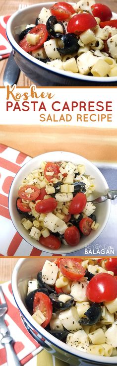 Make this delicious pasta caprese salad - a yummy pasta salad recipe that's Kosher, dairy and easy to make! It's kid-friendly and allergy safe too! #recipes #allergyfriendly #pasta #pastasalad #kidfriendly #allergysafe #kosher #kosherfood #kosherrecipe