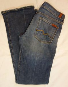 7 For All Mankind Authentic distressed denim boot cut jeans SZ 27 L33 #7ForAllMankind #BootCut