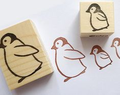 Rubber stamps, Penguin stamps, Animal rubber stamps, Christmas decor, Scrapbooking, Wrapping paper, Baby shower stamp, Winter wedding, Kawai