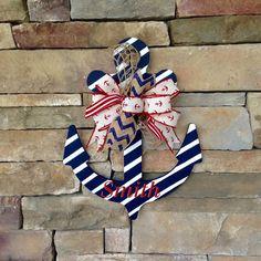 Anchor Door Hanger Monogrammed Anchor by DoorDecorDiva on Etsy Anchor Wreath, Nautical Wreath, Nautical Home, Nautical Centerpiece, Vintage Nautical, Cruise Door Decor, Monogram Painting, Beach Crafts, Wood Cutouts