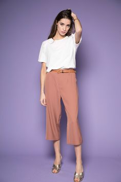 Camel culotte trousers