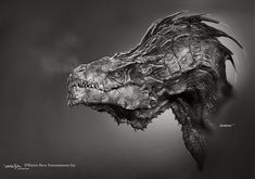 """Conceptual illustrator Andrew Baker (""""I, Frankenstein""""), has updated his website with rejected designs for Smaug the dragon from Peter Jackson's The Hobbit: Desolation of Smaug. Fantasy Dragon, Dragon Art, Fantasy Art, Smaug Dragon, Monster Design, Monster Art, Hobbit Art, The Hobbit, Creature Concept Art"""