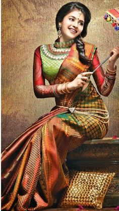 Colourful silk saree or sari and blouse. #IndianFashion