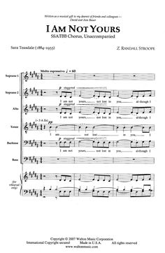 I Am Not Yours (SSATBB ) by Z. Randall Stroo | J.W. Pepper Sheet Music