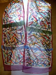 Handpainted Organza Silk Scarf Wrap Multicolored by silkworth, $29.00