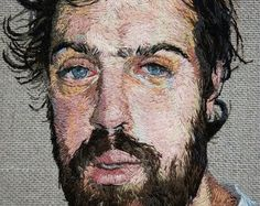 Hipster Embroidery portraits by Daniel Kornrumf Portrait Embroidery, Embroidery Art, Thread Art, Thread Painting, Art Fil, Contemporary Embroidery, Modern Embroidery, Art Textile, Land Art