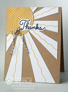 Kraft Sunburst - SU - Sunburst Sayings, It's My Party dsp Birthday Thank You Cards, Pillow Box, Stamping Up Cards, Card Maker, Homemade Cards, Making Ideas, I Card, Cardmaking, Paper Crafts
