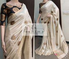 - Price , Tissue Saree With printed Silk Border And Blouse. Set Saree, Saree Dress, Sari Blouse, Simple Sarees, Trendy Sarees, Stylish Sarees, Kerala Saree Blouse Designs, Latest Saree Blouse Designs, Cotton Saree Blouse Designs
