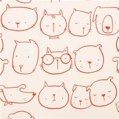 beige Alexander Henry dog cat animal fabric Good Friends