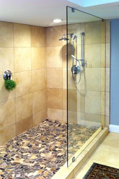 Bathroom Knee Wall rain glass shower panel with notch for knee wall installed in