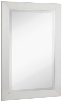 NEW Silver Modern Metallic Look Rectangle Wall Mirror | Brushed Metal Appearance | Contemporary Simple Design Beveled Glass Vanity, Bedroom, or Bathroom | Hanging Horizontal or Vertical | Made in USA
