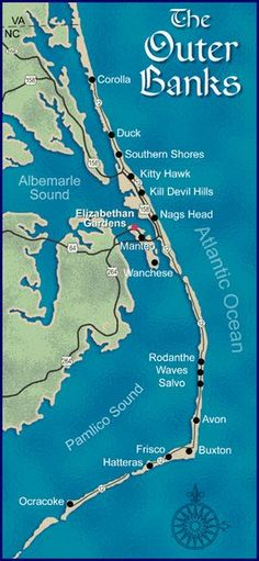 of the Outer Banks Way the other end of the state, but would love to get there one of these days.Map of the Outer Banks Way the other end of the state, but would love to get there one of these days. Outer Banks North Carolina, Outer Banks Nc, Outer Banks Vacation, North Carolina Homes, Corolla North Carolina, Corolla Outer Banks, Vacation Places, Places To Travel, Vacation Travel