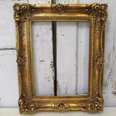 Ornate wood gesso frame original gold gilt/ leafing French Nordic antique farmhouse wall hanging home decor anita spero design