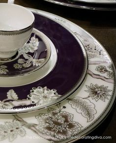 Prouna's Pavo Silver Decorative Plate and Fine China Dinnerware in Purple