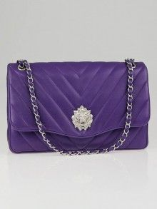 Chanel Purple Quilted Chevron Lambskin Leather Leo Jumbo Flap Bag; 2011