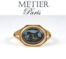 Antique Nicolo Intaglio Gentleman's Ring, c. 1790