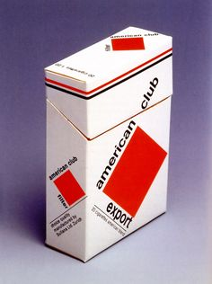 American Club cigarettes designed in 1961 by Swiss typographer and designer Jost Hochuli. The lettering is set in Neue Haas Grotesk and Hochuli's design is reminiscent of Constructivist work which had been reproduced in early issues of the journal Neue Grafik.