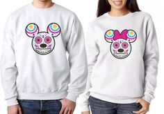 Hey, I found this really awesome Etsy listing at https://www.etsy.com/listing/201356147/his-and-hers-matching-disney-day-of-the Disney Tattoos Mickey, Disney Day, Walt Disney, Sugar Skull, Day Of The Dead, Tattoo Inspiration, Skulls, Minnie Mouse, Tattoo Ideas