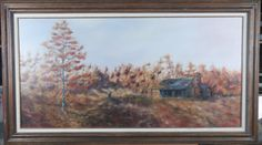 LARGE OIL ON CANVAS BY CRAIG BURGWERDT, 1981. DEPICTS A HOUSE IN THE COUNTRY DURING FALL. IT IS DONE IN VIBRANT RED, ORANGE, PINK, AND BROWN COLORS WITH A NICE RUSTIC FRAME.