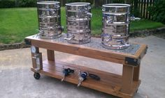 wooden cart brew stand with countertop