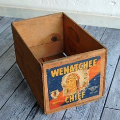 Vintage Crate with Native American Chief