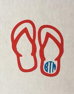 Flip flops with monogram decal