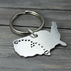 These charming key chains are stamped with hearts and tiny dots connecting them together. They're perfect for military families, kids away from home, long distance relationships and even sending your 'babies' back to school.