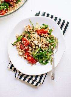 Whole grain salad with roasted cherry tomatoes, arugula and feta (gluten free/vegetarian) - cookieandkate.com