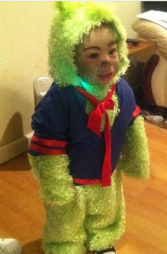 baby grinch costume made with cotton and some furry fabric - Baby Grinch Halloween Costume