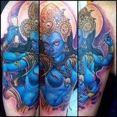 1 session , waiting for better pics. Kali Goddess, Black Goddess, Goddess Art, Trendy Tattoos, Cool Tattoos, Tatoos, Amazing Tattoos, Kali Tattoo, Tattoo Art