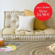 Cojín de suelo OBELIX Mostaza - 60x60x13 cm. Throw Pillows, Bed, Home, Floor Cushions, Flooring, Toss Pillows, Cushions, Stream Bed, Ad Home