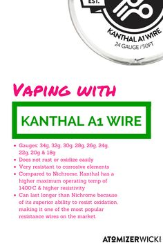 Highest quality kanthal a1 wire and other coil rebuilding needs highest quality kanthal a1 wire and other coil rebuilding needs best prices atomizerwick vape wire pinterest vape greentooth Image collections