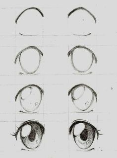 Learn To Draw Manga - Drawing On Demand - Anime / manga eyes step by step – # animemanga - Anime Drawings Sketches, Anime Sketch, Cute Drawings, Art Sketches, Pencil Drawings, Drawings Of Eyes, Easy Manga Drawings, Pencil Sketching, Eye Drawing Tutorials