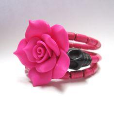 Sugar Skull Bracelet Day Of The Dead Wrap Hot by sweetie2sweetie, $24.99