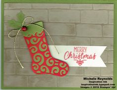 Handmade Christmas card using Stampin' Up! products - Hang Your Stocking Photopolymer Stamp Set, Brick Wall Embossing Folder, Sponge Daubers, Banner Triple Punch, Holly Berry Builder Punch, Mini Jingle Bells, Baker's Twine Trio Pack, Wink of Stella Glitter Brush, and Christmas Stockings Thinlits.  By Michele Reynolds, Inspiration Ink.