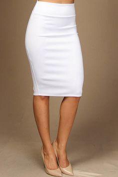 Knee Length Pencil Skirt in Black, Red, Royal Blue or White